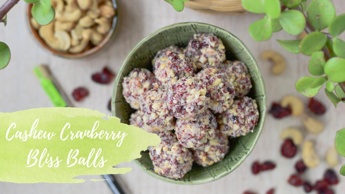 Cashew Cranberry Bliss Balls – Healthy White Chocolate Alternative